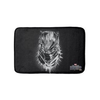 Black Panther | Black & White Head Sketch Bath Mat