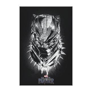 Black Panther | Black & White Head Sketch Canvas Print