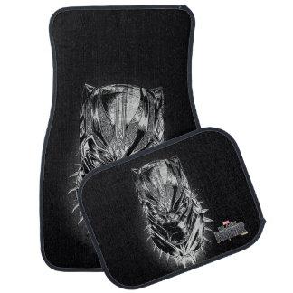Black Panther   Black & White Head Sketch Car Mat
