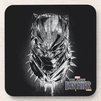 Black Panther | Black & White Head Sketch Coaster