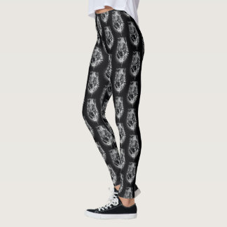 Black Panther | Black & White Head Sketch Leggings