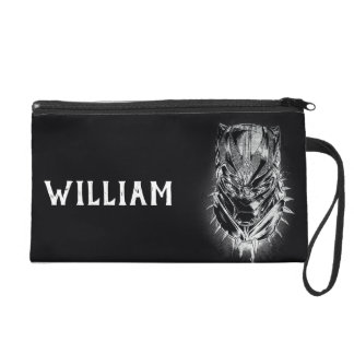 Black Panther | Black & White Head Sketch Wristlet