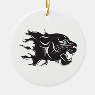 Black Panther Blue Eyes Ceramic Ornament