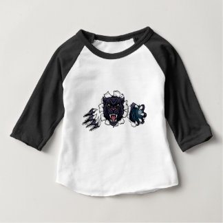Black Panther Bowling Mascot Breaking Background Baby T-Shirt