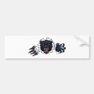 Black Panther Bowling Mascot Breaking Background Bumper Sticker