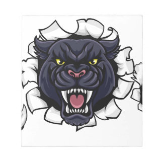 Black Panther Bowling Mascot Breaking Background Notepad
