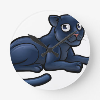 Black Panther Cartoon Character Round Clock