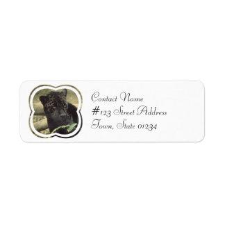 Black Panther Cat Mailing Label Return Address Label