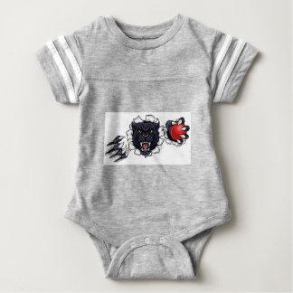 Black Panther Cricket Mascot Breaking Background Baby Bodysuit
