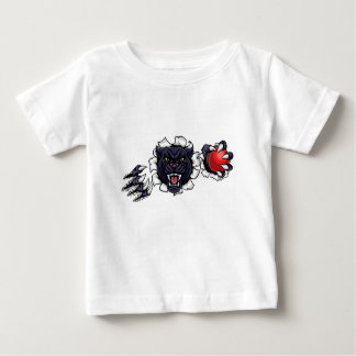 Black Panther Cricket Mascot Breaking Background Baby T-Shirt