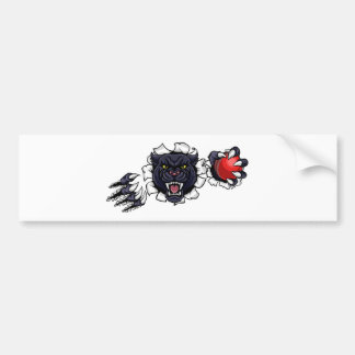 Black Panther Cricket Mascot Breaking Background Bumper Sticker
