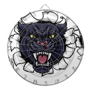 Black Panther Cricket Mascot Breaking Background Dartboard