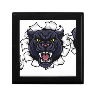 Black Panther Cricket Mascot Breaking Background Gift Box