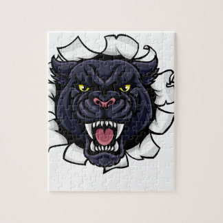 Black Panther Cricket Mascot Breaking Background Jigsaw Puzzle