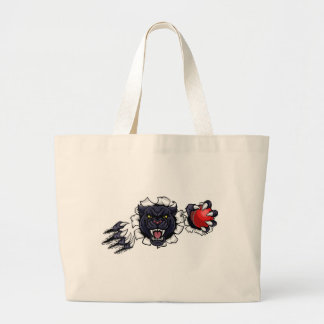 Black Panther Cricket Mascot Breaking Background Large Tote Bag