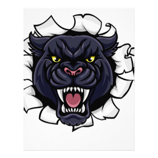 Black Panther Cricket Mascot Breaking Background Letterhead