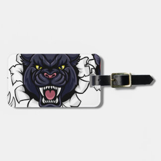 Black Panther Cricket Mascot Breaking Background Luggage Tag