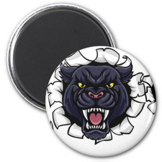 Black Panther Cricket Mascot Breaking Background Magnet