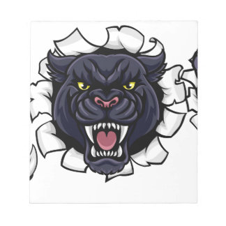 Black Panther Cricket Mascot Breaking Background Notepad