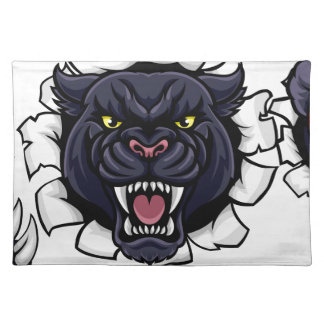 Black Panther Cricket Mascot Breaking Background Placemat