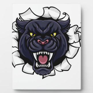 Black Panther Cricket Mascot Breaking Background Plaque