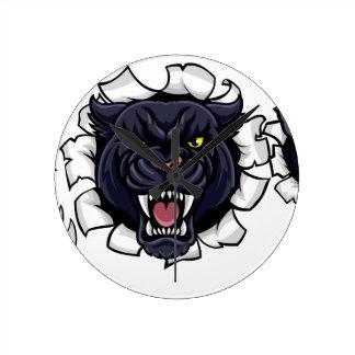 Black Panther Cricket Mascot Breaking Background Round Clock