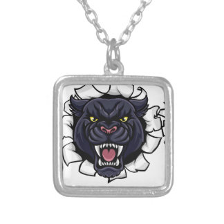 Black Panther Cricket Mascot Breaking Background Silver Plated Necklace