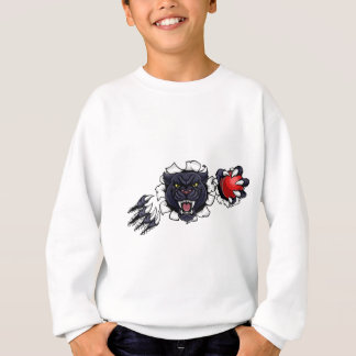 Black Panther Cricket Mascot Breaking Background Sweatshirt