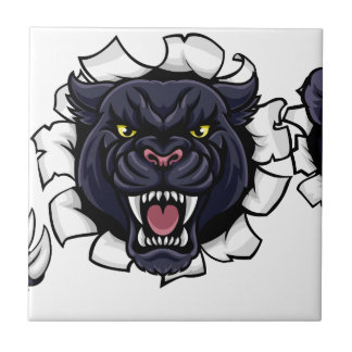 Black Panther Cricket Mascot Breaking Background Tile