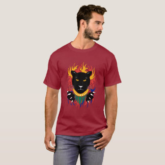 Black Panther double sided on red T-Shirt