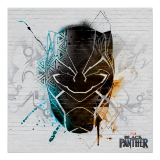 Black Panther   Dual Panthers Street Art Poster