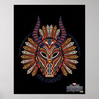 Black Panther | Erik Killmonger Tribal Mask Icon Poster