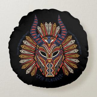 Black Panther   Erik Killmonger Tribal Mask Icon Round Pillow