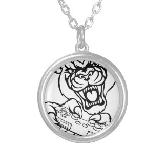 Black Panther Gamer Mascot Silver Plated Necklace