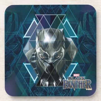 Black Panther | Geometric Character Pattern Coaster