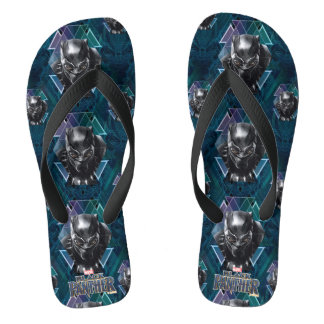 Black Panther | Geometric Character Pattern Flip Flops