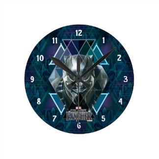 Black Panther | Geometric Character Pattern Round Clock