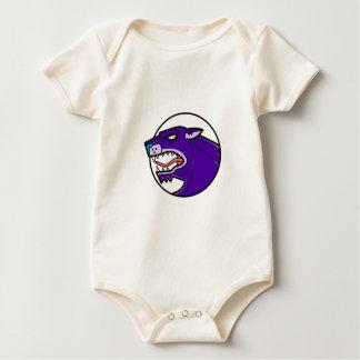 Black Panther Growling Mono Line Baby Bodysuit
