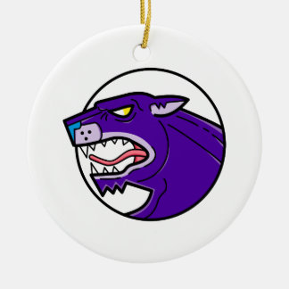 Black Panther Growling Mono Line Ceramic Ornament
