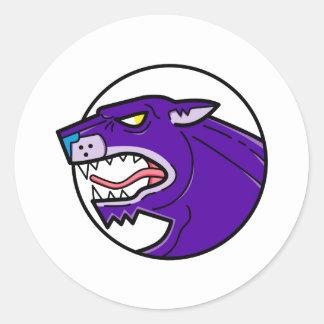 Black Panther Growling Mono Line Classic Round Sticker