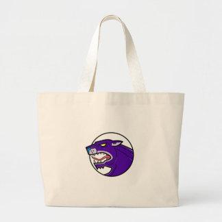 Black Panther Growling Mono Line Large Tote Bag
