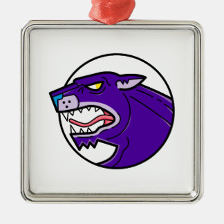 Black Panther Growling Mono Line Metal Ornament