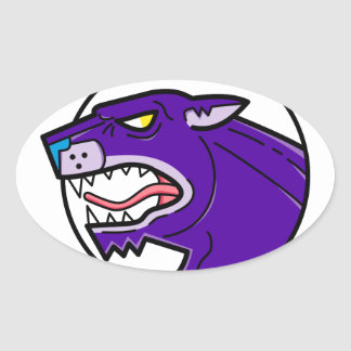 Black Panther Growling Mono Line Oval Sticker