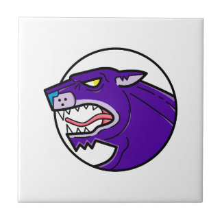 Black Panther Growling Mono Line Tile