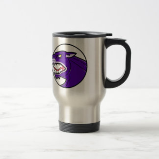 Black Panther Growling Mono Line Travel Mug
