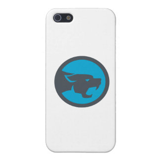 Black Panther Head Growling Circle Retro iPhone 5 Cases