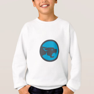 Black Panther Head Growling Circle Retro Sweatshirt