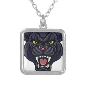 Black Panther Mascot Silver Plated Necklace