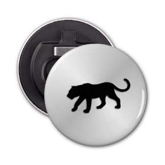 Black Panther on Silver Button Bottle Opener