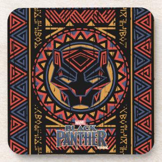 Black Panther | Panther Head Tribal Pattern Coaster